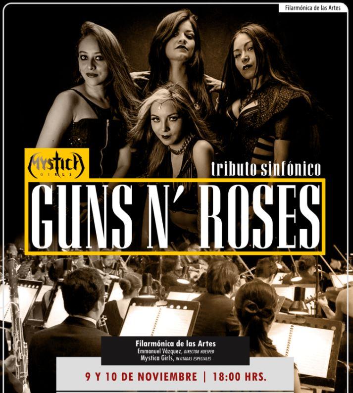 FILARMÓNICA DE LAS ARTES y MYSTICA GIRLS presentan tributo a GUNS N' ROSES en EVENTOS.  Chicas Rockeras!